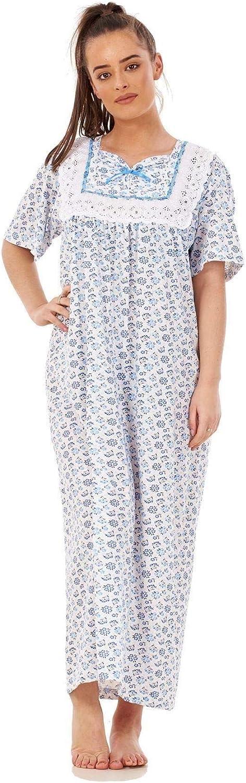 Apparel Women Nightwear Floral Print 100/% Cotton Short Sleeve Long Nightdress M to XXXL