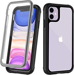 OUNNE iPhone 11 Case,Full-Body Rugged Clear Bumper Case with Built-in Screen Protector Heavy Duty Protection Designed for iPhone 11 cases 6.1 Inch (2019)Clear+Black