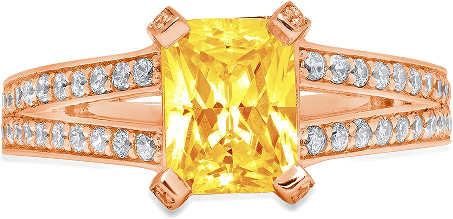2.70 ct Emerald Cut Solitaire Accent split shank Genuine Flawless Natural Yellow Citrine Gemstone Engagement Promise Statement Anniversary Bridal Wedding Ring Solid 18K Rose Gold