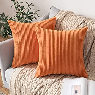 Best MIULEE Pack of 2 Corduroy Soft Solid Decorative Square Throw Pillow Covers Cushion Cases Pillow Cases for Couch Sofa Bedroom Car 16 x 16 Inch 40 x 40 cm, Orange Review
