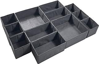 YUCCH Lot de 12 Boîtes de Rangement Ouvertes pour Etagère Armoire et Placard,Paniers de Rangement Pliables en Tissu pour J...