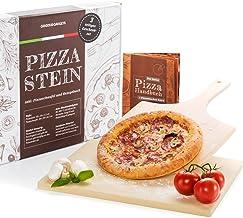 Pizzasteen en pizzaschuiver DELUXE set - pizzaschep & baksteen, voor oven en gasgrill, cordierite pizzaovenmateriaal 3-del...
