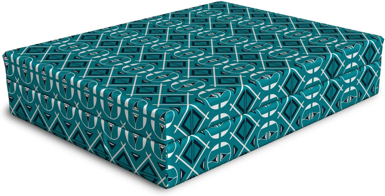 Clearance SALE Limited Long-awaited time Ambesonne Blue Dog Bed Abstract Rounded Geometric Patterns and