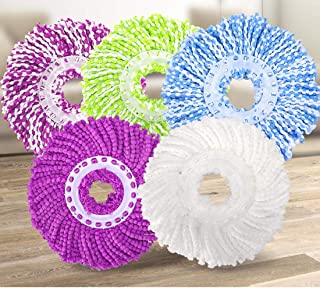 5 Replacement Mop Micro Head Refill for 360° Spin Magic Mop-Microfiber Replacement Mop Head-Round Shape Standard Size