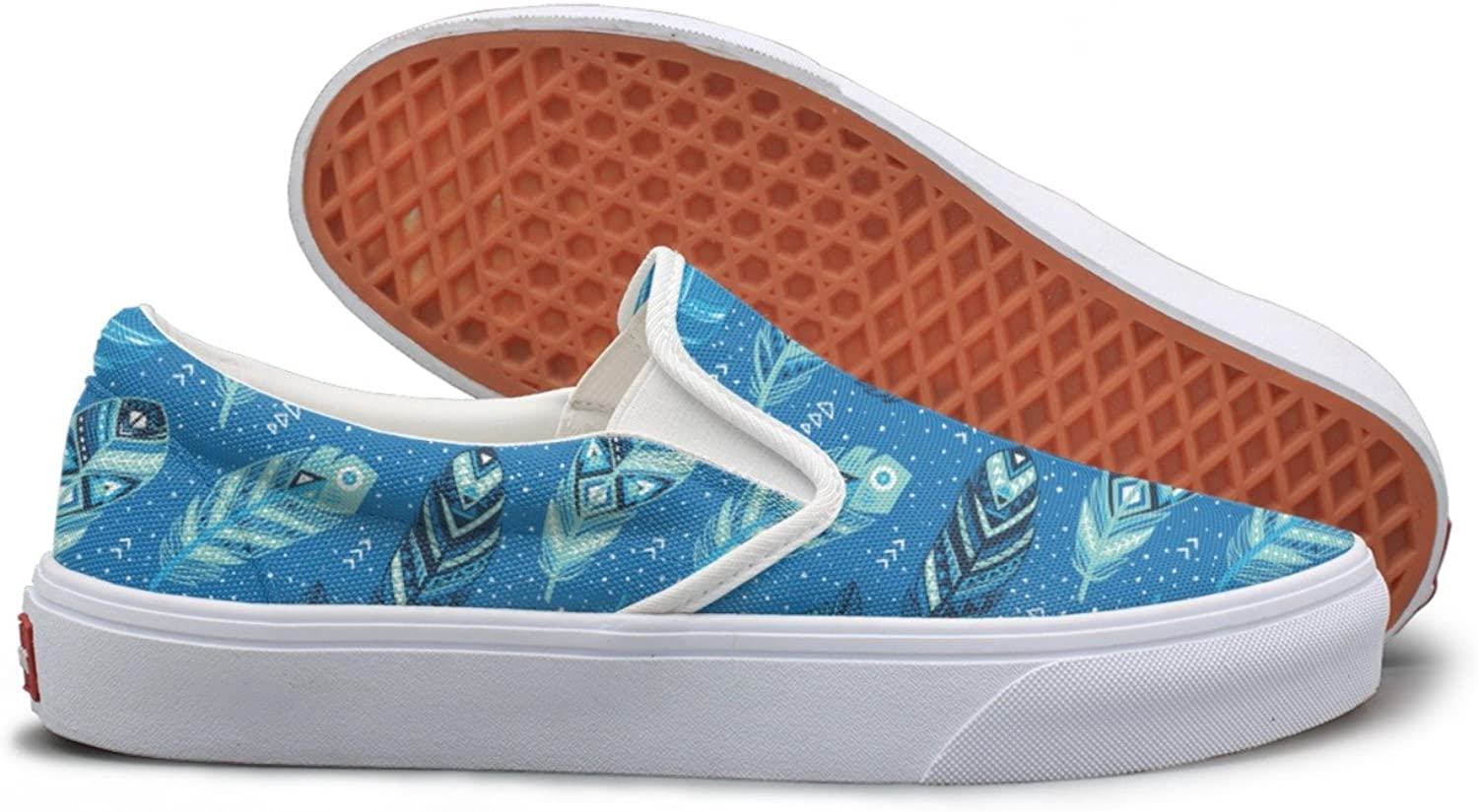 Tribal bluee Feathers School Sneakers For Women