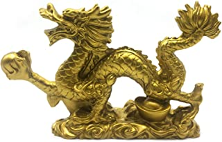 better us Chinese Gold feng Shui Decor Dragon Statue Figurines Sculpture Collectibles for Luck & Success 9 Inch