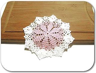 Posavaso redondo rosa y blanco de ganchillo - Tamaño: ø 15.5 cm - Handmade - ITALY