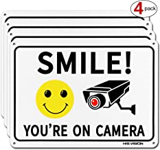 (4 Pack) Smile You're on Camera, Video Surveillance Sign, 10