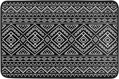Mydaily Aztec Tribal Black White Stripe Doormat 15.7 x 23.6 inch, Living Room Bedroom Kitchen Bathroom Decorative Lightweight Foam Printed Rug
