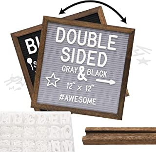 Rustic Wood Frame Gray Felt Letter Board 12x12 inches. Dark Brown. Pre-Cut White Letters. Additional Symbols & Emojis, Let...