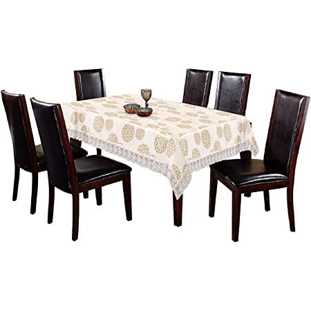 """Kuber Industries Floral Design PVC 6 Seater Dining Table Cover 60""""x90"""" (Cream) - CTKTC040413, Standard"""