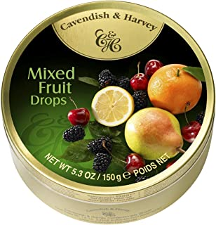 Cavendish And Harvey Candy (3 Pack) Fruit Hard Candy Tin 5.3 Ounces Imported German Candy (Mixed Fruit Drops)(Pack of 3)