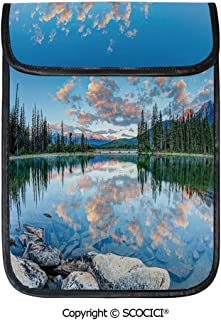 SCOCICI Shockproof Tablet Sleeve Compatible 12.9 Inch iPad Pro Long View of Golden Sunrise Skyline at Pyramid Lake Tranquil Canadian Scenery Tablet Protective Bag