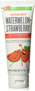 Schmidt's Tooth and Mouth Paste Naturally Flavoured for kids clean teeth Watermelon & Strawberry Fluoride-Free and plant-b...