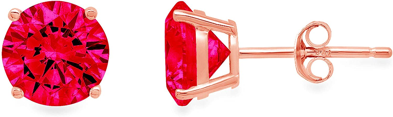 Clara Pucci 1.50 ct Brilliant Round Cut Solitaire VVS1 Flawless Simulated Ruby Gemstone Pair of Stud Earrings Solid 18K Pink Rose Gold Butterfly Push Back