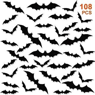 GWHOLE DIY 108 Pièces 3D Halloween Chauves-Souris Autocollants Accessoires Kit, Fournitures de Fête de Halloween pour Déco...