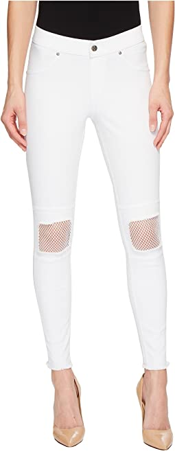 Fishnet Knee Patch Denim Skimmer