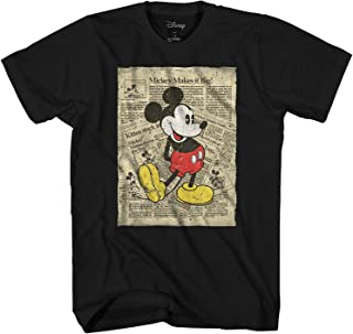 Mickey Mouse Retro Newspaper Classic Vintage Disneyland World Tee Funny Humor Adult Mens Graphic T-Shirt Apparel