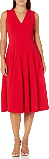 Calvin Klein Women's Sleeveless A-Line Dress with V Neckline