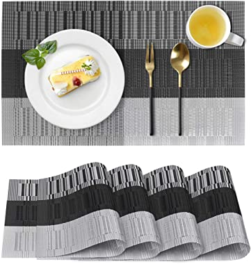 Placemats for Dining Table, Washable Heat-Resistant Table Mats, Stain Resistant Woven Vinyl Place Mats Placemats Set of 4 (Bl