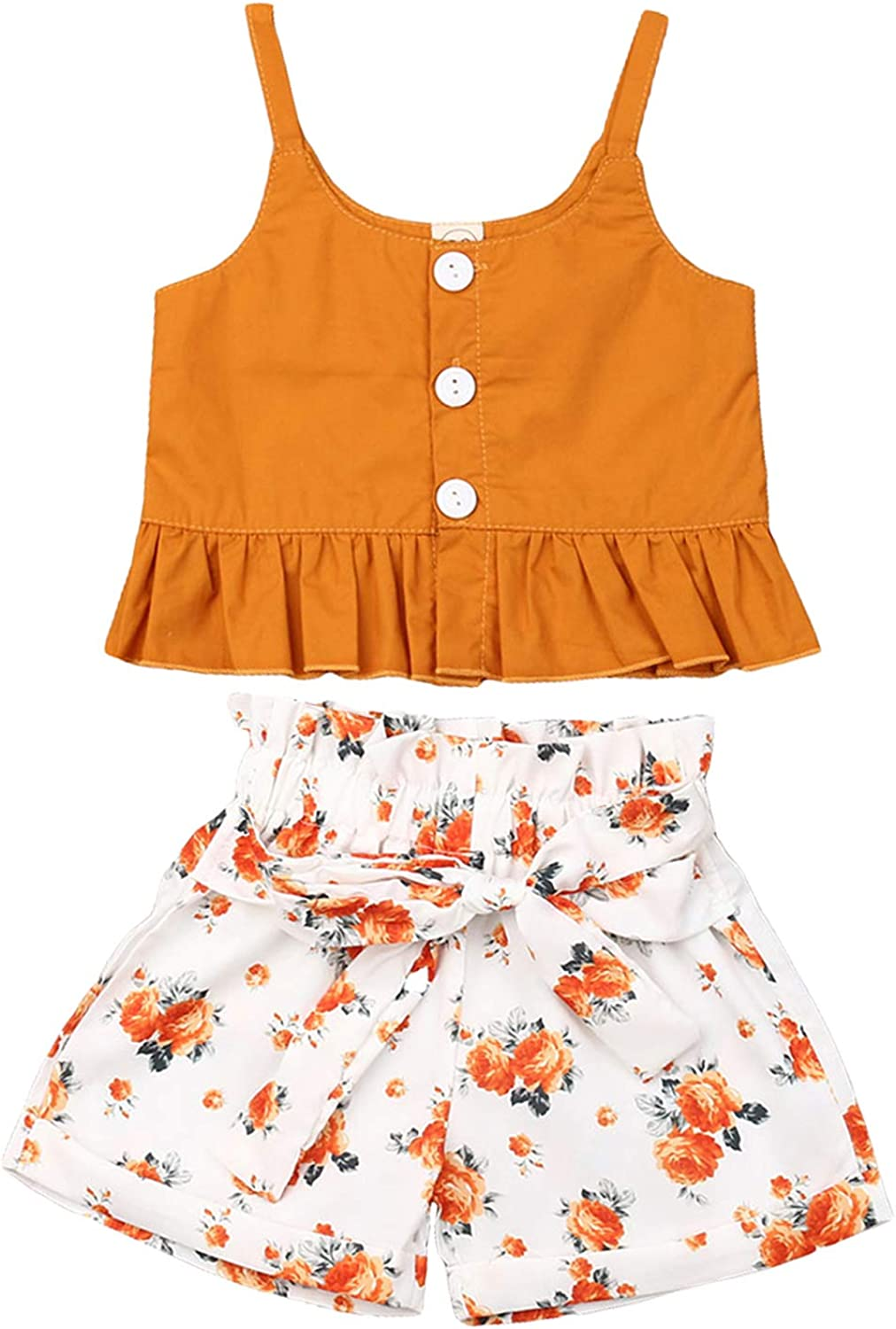 Toddler Kids Girl Clothing Suspender Ruffle Sleeveless Crop Top + Shorts Outfit Set Toddler Girl Summer Clothes