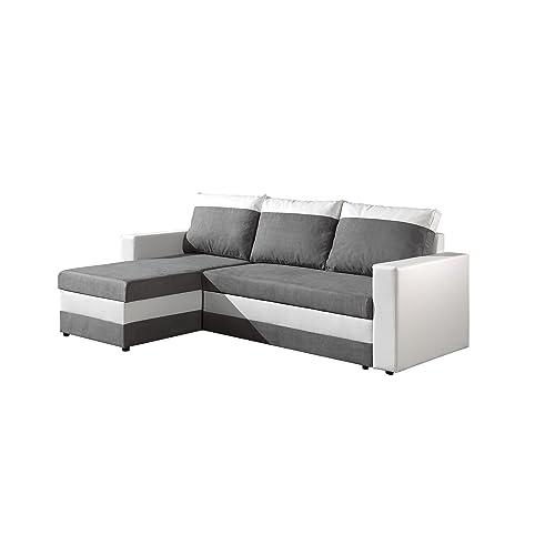 Bestmobilier - Portland - Canapé d'angle réversible Convertible - 225x145x85cm Couleur - Blanc/Gris