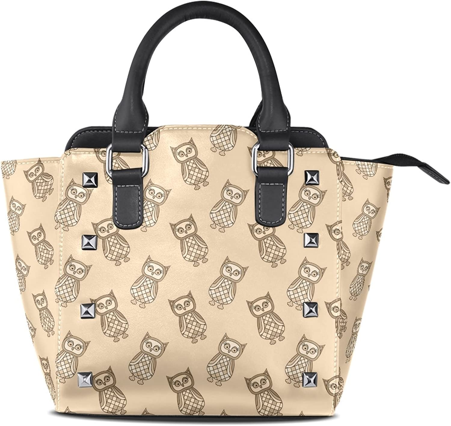 Sunlome Cute Cartoon Owls in Beige Tones Print Handbags Women's PU Leather Top-Handle Shoulder Bags