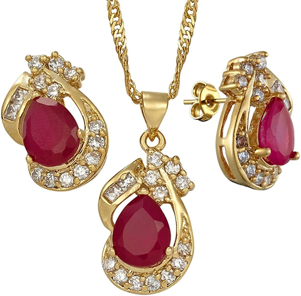 RIZILIA Pear Cut Red Ruby Yellow Gold Plated Jewelry Set, Pendant with 18