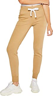 esstive Women's Ultra Soft Fleece Basic Midweight Casual Solid Jogger Pants, Tan, X-Large