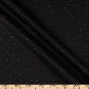 Benartex Kanvas Better Basics Deluxe Cotton Tonal Stars Black Fabric