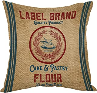 Moslion Vintage Burlap Like Flour Sack Pillow,Home Decor Throw Pillow Cover Cotton Linen Cushion for Couch/Sofa/Bedroom/Livingroom/Kitchen/Car 18 x 18 inch Square Pillow case