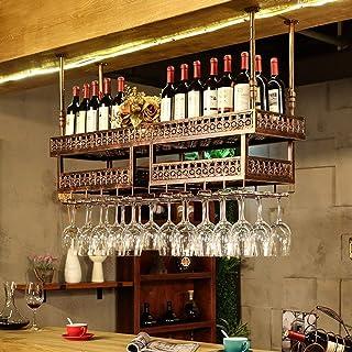 Color : Bronce Estante Europeo de la ejecución de la Copa de Vino del Hierro FENGFAN Soporte para Vino Que cuelga el Estante montado del Vino del Metal