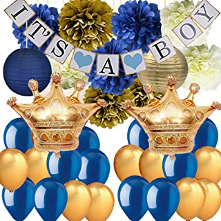 Royal Prince Baby Shower Decorations for Boy-It's A BOY Banner Tissue Pom Poms Paper Lanterns Latex Balloons with Crown Balloons for Navy Blue Baby Shower Nautical Babyshower Decor