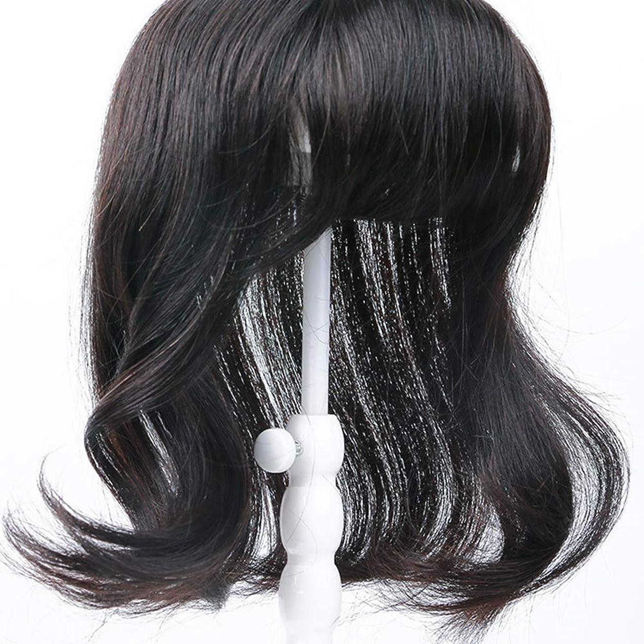 デュアル発生偉業Yrattary 女性のための波状の長い巻き毛リアルヘアエクステンション白髪かつら合成毛髪のレースのかつらロールプレイングウィッグロングとショートの女性自然 (色 : Natural black, サイズ : 35cm)