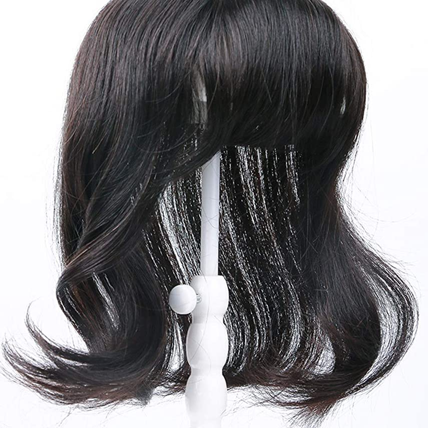時代遅れ静かな署名Yrattary 女性のための波状の長い巻き毛リアルヘアエクステンション白髪かつら合成毛髪のレースのかつらロールプレイングウィッグロングとショートの女性自然 (色 : Natural black, サイズ : 35cm)