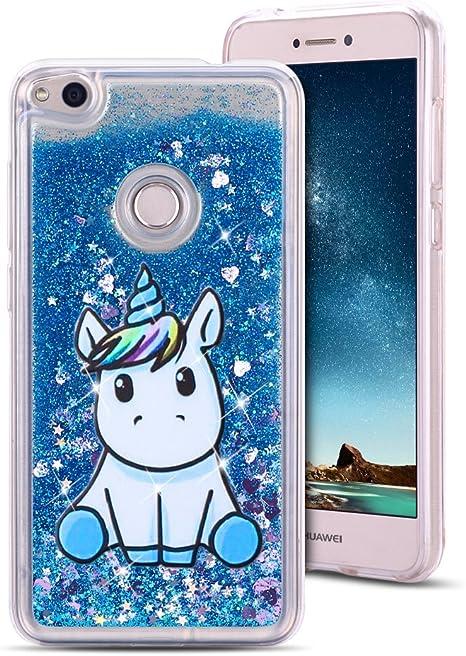 MoEvn Cover Huawei P8 Lite 2017 Custodia, Unicorno 3D Glitter Liquido Trasparente Sabbie Mobili Morbida TPU Silicone Sparkle Quicksand Antiurto ...