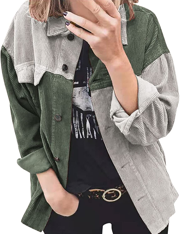 Women's San Jose Mall Corduroy Shirt Outwear Fashionable Fashion B Top Splicing Color