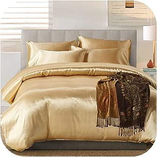 NAVY-SHOP Satin Silk Duvet Cover Set Us UK Size 3Pcs/Set Modern Bedding Grey Oriental Quilt Covers Bed Set,Camel,Us-King