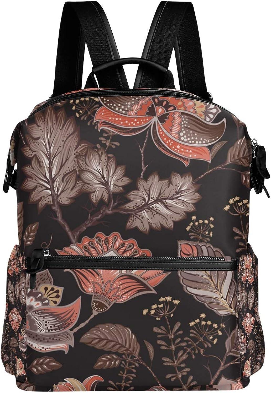 MONTOJ Retro Floral Pattern Leather Travel Bag Campus Backpack