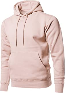 Style by William Men's Causal Solid Soft French Terry Long Sleeve Pullover Hoodie