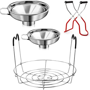 Cedilis 4 Pieces Canning Kit, 1PC Canning Rack+ 1PC Canning Jar Lifter Tong+ 2PC Canning Funnels, Stainless Steel Canning Supplies Canning Rack and Canning Tong for Mason Jars