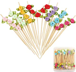 Rose Flower Appetizer Skewers Cocktail Picks Long Bamboo Toothpicks in Clear Storage Box Wedding Valentines Day Single Bachelorette Party Food Drinks Desserts Fruits Decor 4.7