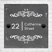 Be-Creative Rustieke natuurlijke leisteen huis poort teken gepersonaliseerd naambord - (10cm x 10cm)