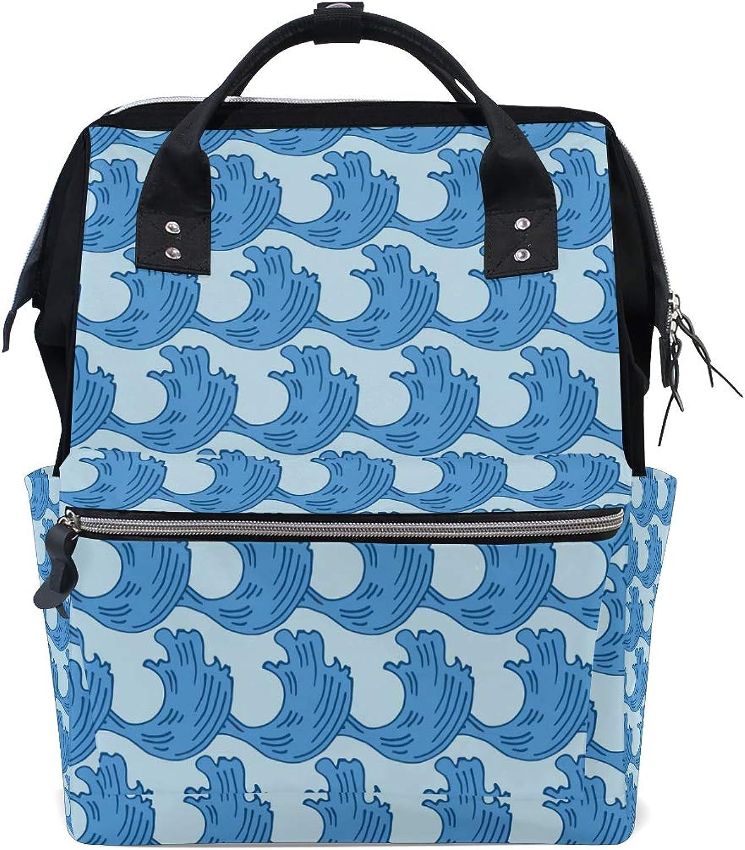 FAJRO Special bluee Sea WaveTravel Backpack Canvas Handbag School Pack