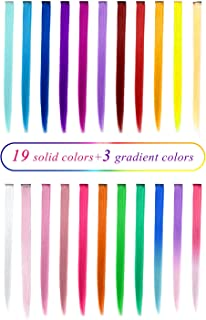 TOFAFA 22 inch Colored Hair Extensions,Multi-colors Party Highlights Clip in Synthetic Hair Extensions (22 Pcs Colorful Set)