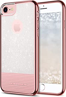 BENTOBEN iPhone 8 Case, iPhone 7 Case, Glitter Bling Slim Shockproof Hard PC Soft TPU Hybrid Dual Layer Stripes Protective Phone Case Cover for iPhone 8 / iPhone7 (4.7Inch), Rose Gold