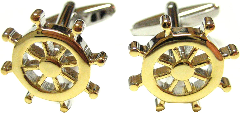 Gold Toned Nautical Ship Steering Wheel Helm Cufflinks