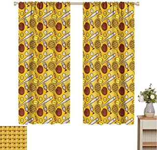June Gissing Sport Outdoor/Indoor Window Cover, Cute Cartoon Baseball and Tennis Summer Background Bats Gloves Microphone Blackout Curtain Cool Patterned Curtain (Yellow Brown White, 96 x 72 Inch)