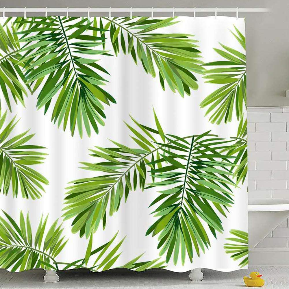Fabric Shower Curtain Green Leaves with Leaded Rope at The Hem Waterproof 71x71 Inches