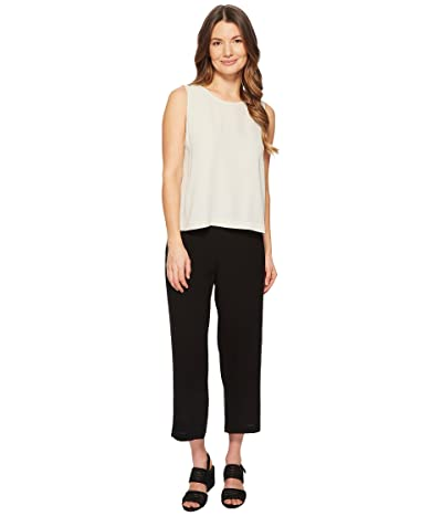 Eileen Fisher Petite Silk Georgette Crepe Straight Cropped Pants (Black) Women
